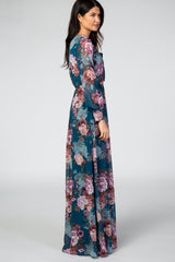 Teal Floral Chiffon Long Sleeve Maxi Dress