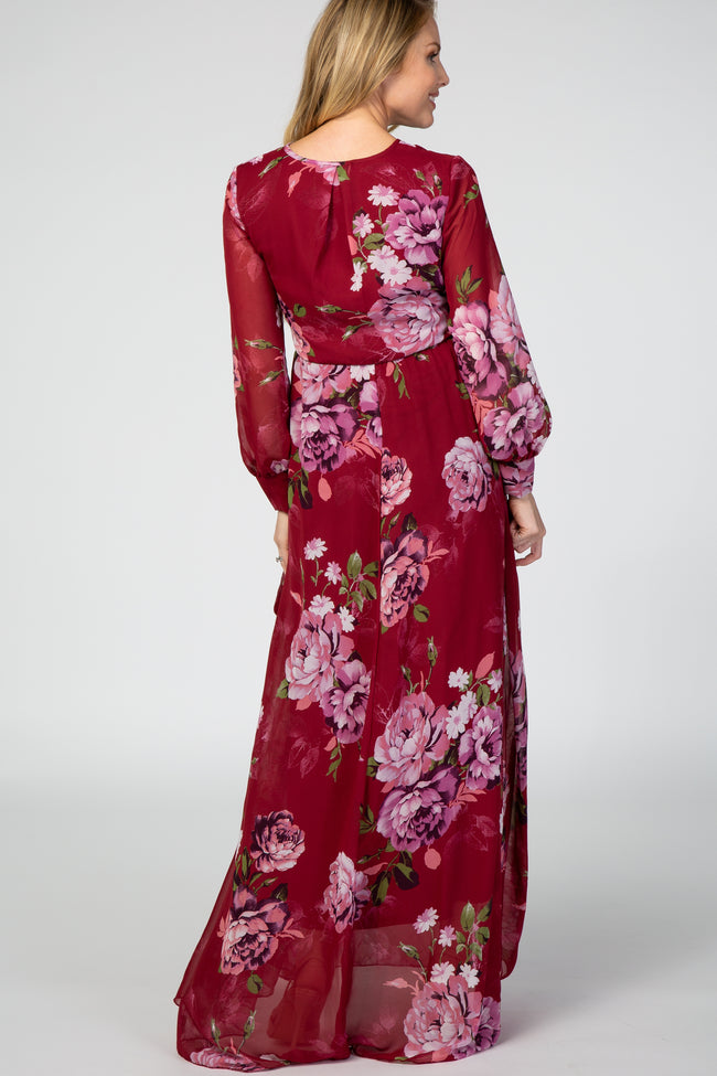 Red Floral Chiffon Long Sleeve Pleated Maternity Maxi Dress