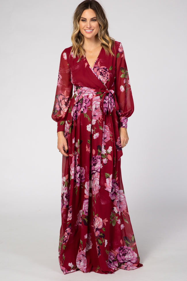 Red Floral Chiffon Long Sleeve Pleated Maxi Dress
