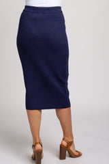 Navy Blue Ribbed Knit Skirt