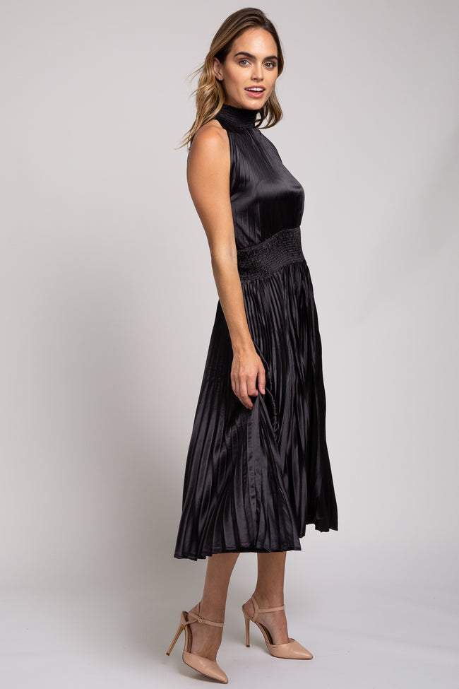 Black High Neck Pleated Sleeveless Midi Dress