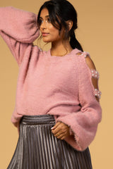 Waverleigh Mauve Cold Shoulder Pearl Accent Maternity Sweater