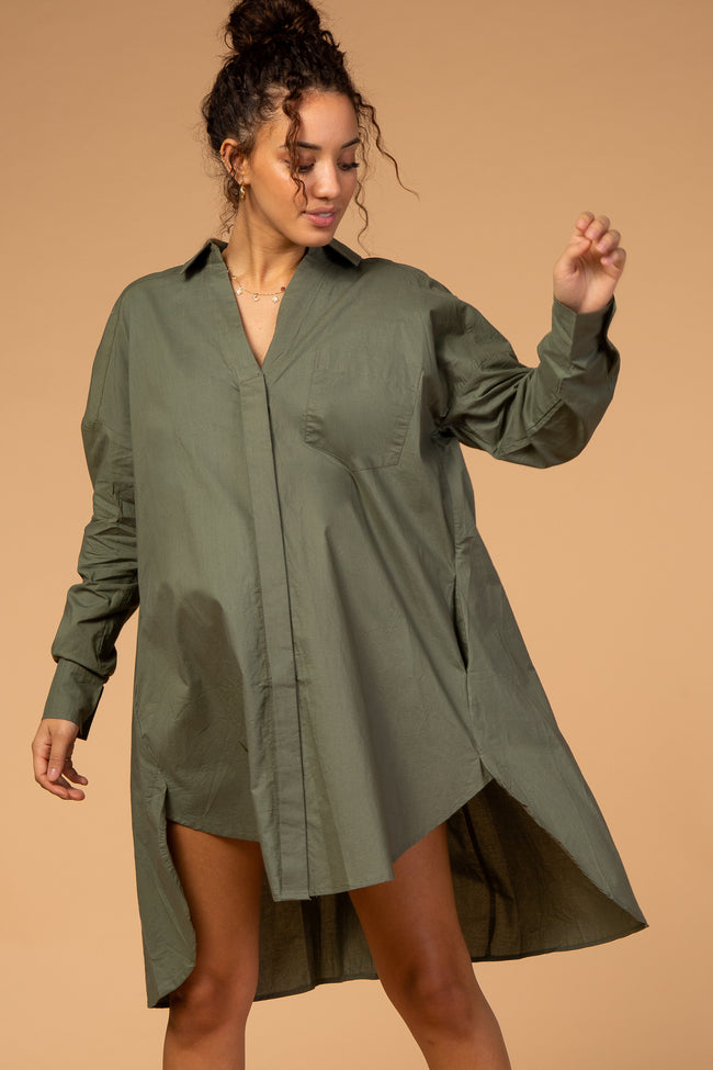 Waverleigh Button Down Long Sleeve Maternity Shirt Dress