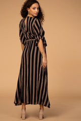 Striped Tie Front Maternity Midi Dress