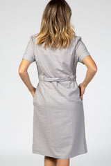 Grey Collared Waist Tie Midi Dress
