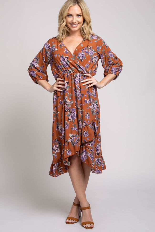 Rust Floral 3/4 Sleeve Ruffle Hem Wrap Dress