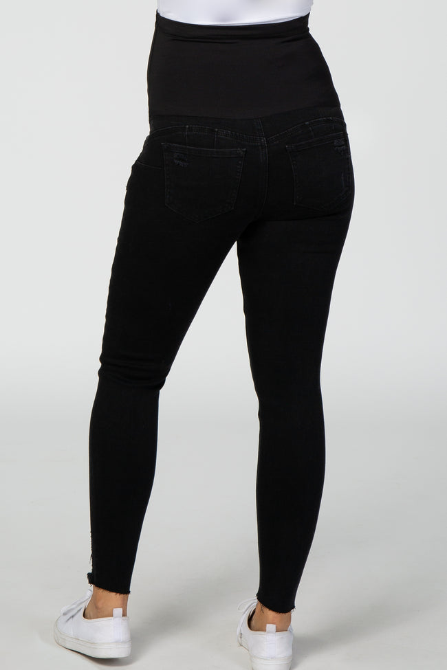 PinkBlush Black Ripped Knee Skinny Fit Maternity Jeans