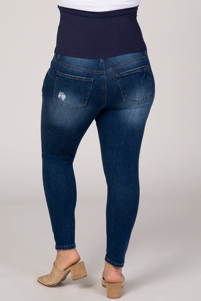 PinkBlush Navy Blue Distressed Plus Maternity Skinny Jeans