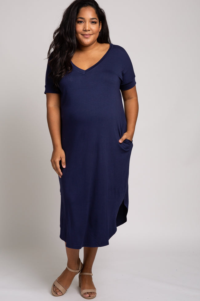 Navy Blue Short Sleeve Maternity Plus Midi Dress