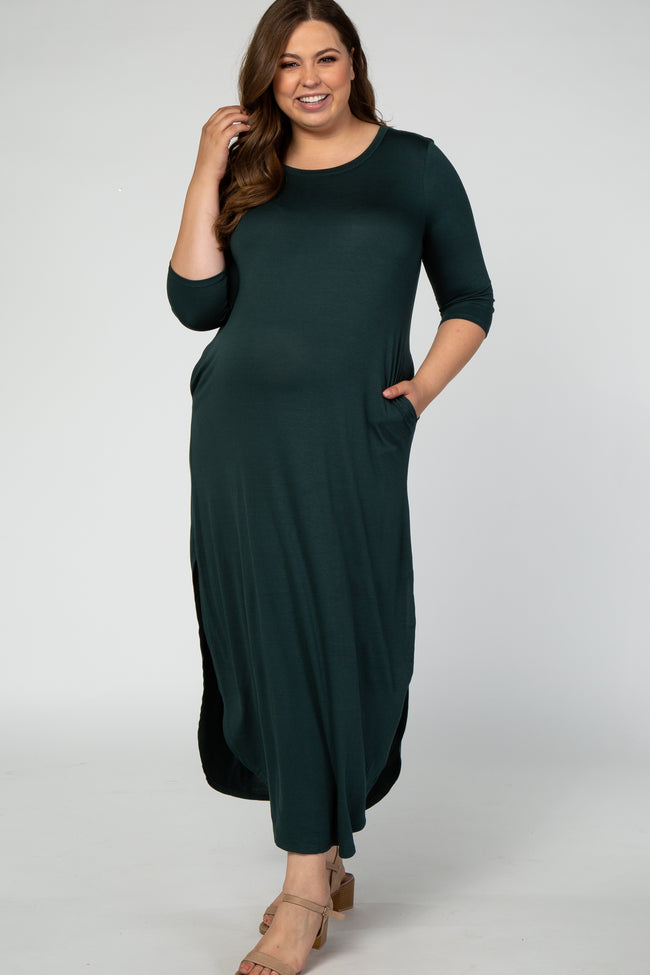 Forest Green 3/4 Sleeve Side Slit Maternity Plus Dress