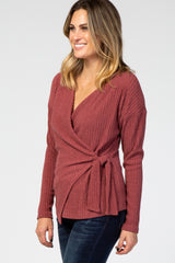 Mauve Ribbed Knit Wrap Front Tie Long Sleeve Top
