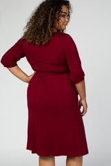 Burgundy 3/4 Sleeve Round Neck Plus Maternity Midi Dress