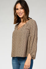 Taupe Animal Print Puff Sleeve Blouse