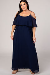 PinkBlush Navy Chiffon Open Shoulder Layered Plus Maternity Maxi Dress