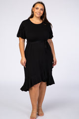 PinkBlush Black Ruffle Trim Hi-Low Wrap Plus Maternity Dress