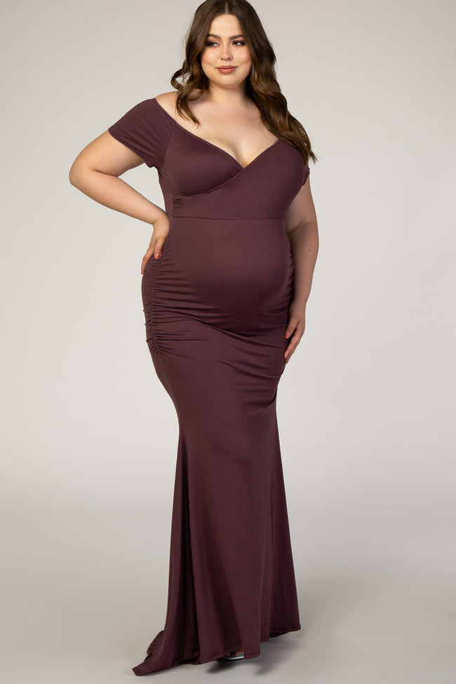 PinkBlush Plum Off Shoulder Wrap Plus Maternity Photoshoot Gown/Dress