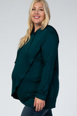 PinkBlush Forest Green Wrap Front Plus Maternity Nursing Hoodie