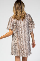 Beige Short Sleeve Snake Print Chiffon Dress