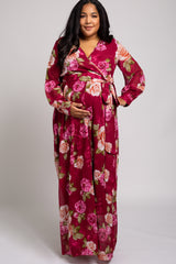 Burgundy Rose Floral Chiffon Long Sleeve Maternity Plus Maxi Dress