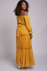 Mustard Tiered Off Shoulder Maternity Maxi Dress