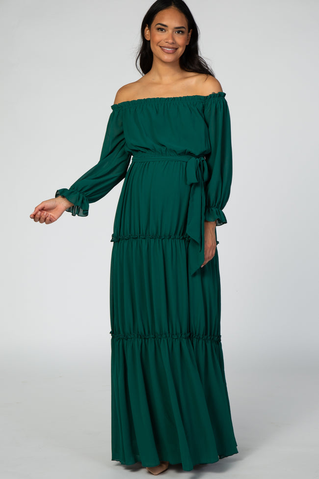 Forest Green Tiered Off Shoulder Maternity Maxi Dress