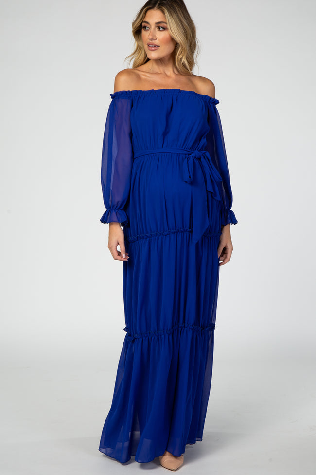 Royal Blue Tiered Off Shoulder Maternity Maxi Dress