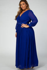 Royal Blue Chiffon Pleated Plus Maxi Dress