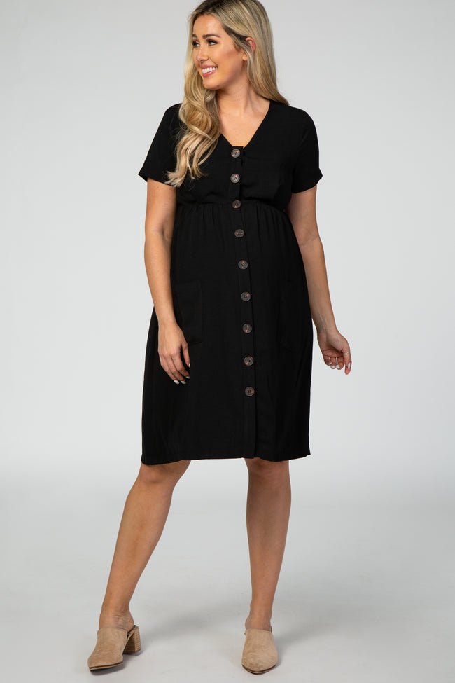 Black Button Down Short Sleeve Maternity Dress