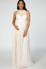 Ivory Sleeveless Chiffon Maxi Maternity Dress