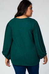 Forest Green Balloon Sleeve Soft Knit Plus Top