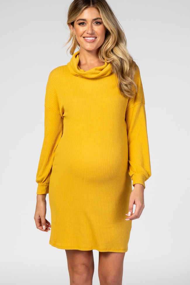 Yellow Ribbed Cowl Neck Long Balloon Sleeve Maternity Dress