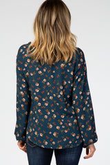 Teal Floral Button Down Knotted Hem Top