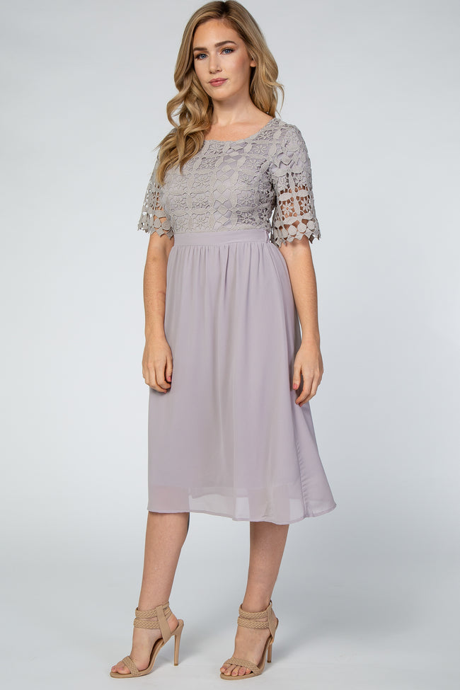 Grey Crochet Top Maternity Midi Dress