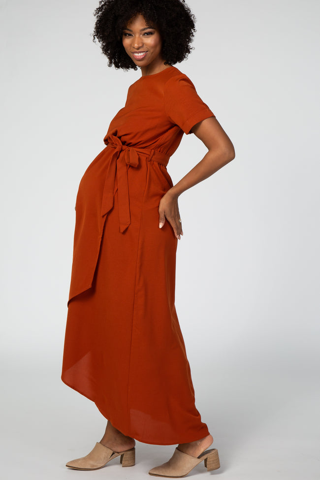 Rust Wrap Skirt Waist Tie Maternity Midi Dress