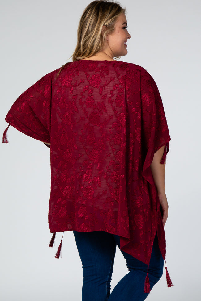 Burgundy Floral Embroidered Tassels Maternity Plus Kimono