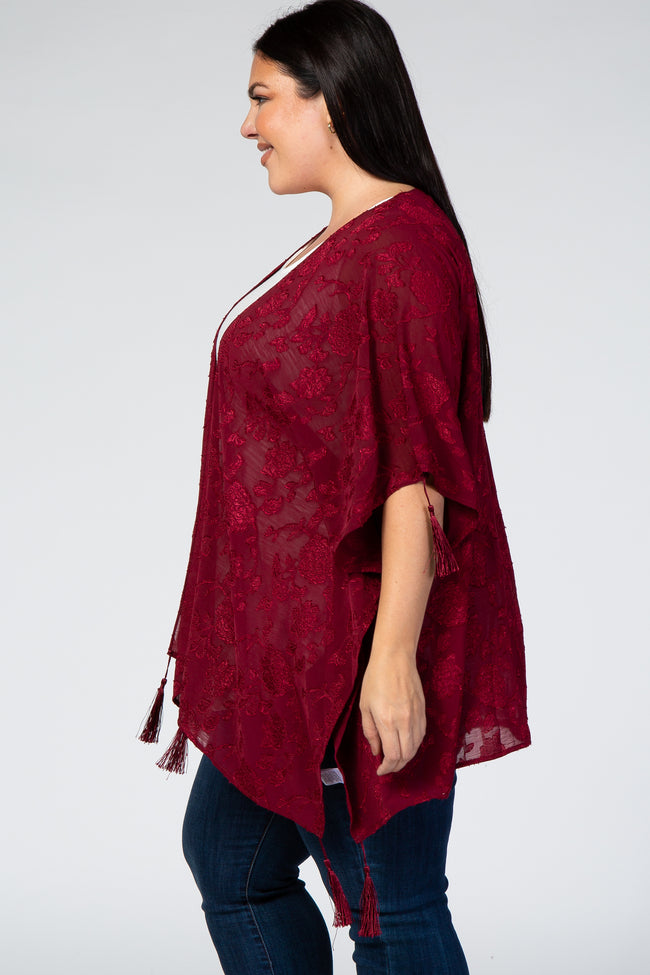 Burgundy Floral Embroidered Tassels Plus Kimono