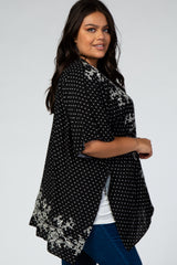 Black Polka Dot Embroidered Plus Cover Up