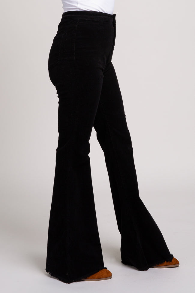 Black Ribbed Corduroy High Waist Flare Jeans
