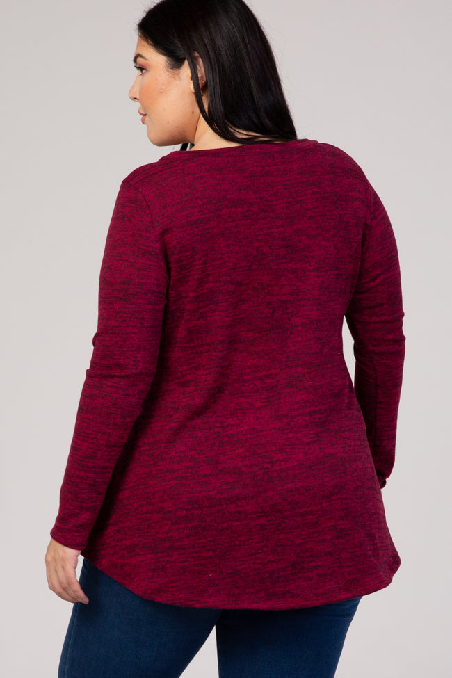 Burgundy Button Front Plus Top