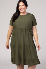 Olive Swiss Dot Maternity Plus Midi Dress