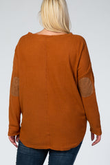 Rust Waffle Knit Elbow Patch Maternity Plus Top