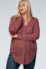 Mauve Waffle Knit Elbow Patch Maternity Plus Top