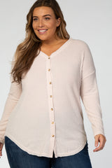 Cream Waffle Knit Elbow Patch Maternity Plus Top