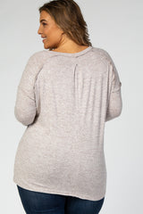 Taupe Long Sleeve Brushed Fabric Drop Shoulder Heathered Plus Top