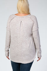 Taupe Long Sleeve Brushed Fabric Drop Shoulder Heathered Plus Maternity Top