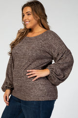 Brown Long Puff Sleeve Plus Top