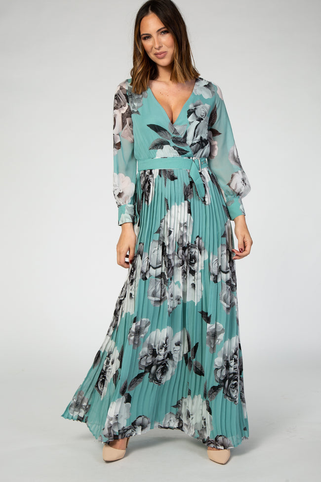 Mint Green Rose Floral Pleated Long Sleeve Maxi Dress