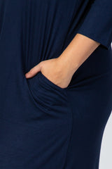 Navy Blue 3/4 Sleeve Side Slit Plus Dress