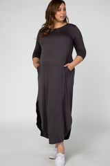 Charcoal 3/4 Sleeve Side Slit Maternity Plus Dress
