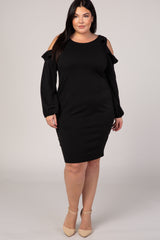 Black Ruffle Trim Puff Sleeve Plus Dress